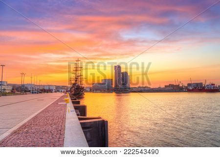 Sunset in Gdynia city at Baltic sea, Poland