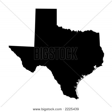 Isolated Black And White Map Of Texas