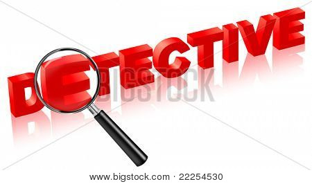 detective investigation private detective looking glass magnifying glass magnify glass information secrets 3D red text police detective crime detective private detective
