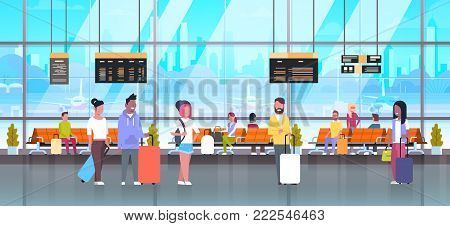 People In Airport Travelers Baggage At Waiting Hall Or Departure Lounge Terminal Check In Interior Flat Vector Illustration