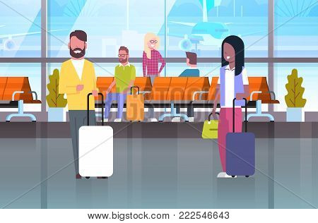 Couple Of Travelers With Suitcases At Waiting Hall Or Departure Lounge People In Airport Terminal Flat Vector Illustration