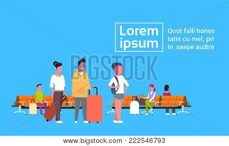 People Waiting For Departure Sitting With Luggage Airport Lounge Concept Template Background Flat Vector Illustration