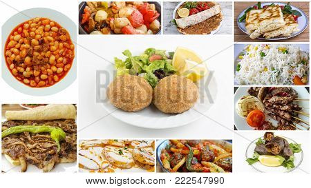 Traditional Turkish cuisine; Turkish special foods collage