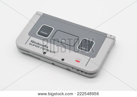Nintendo 3Ds Ll Super Famicom Edition. Portable Game By Nintendo. Illustrative, Editorial.