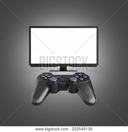 Game Concept On The Console Illustration Of Joystick On Tv With Empty Screen Background 3D Render On