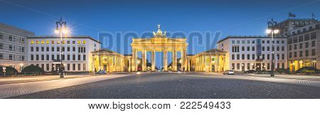 Panoramic view of famous Brandenburger Tor (Brandenburg Gate), one of the best-known landmarks and national symbols of Germany,
