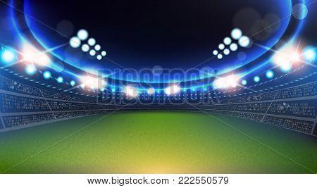 Sport Stadium With Lights And Tribunes Background Flat Vector Illustration