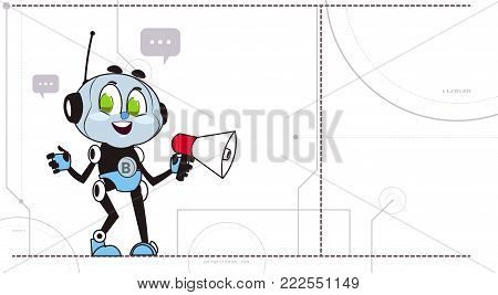 Chatbot Hold Megaphone Robot Support Technology Cute Chatter Chatacter Virtual Assistance Concept Vector Illustration