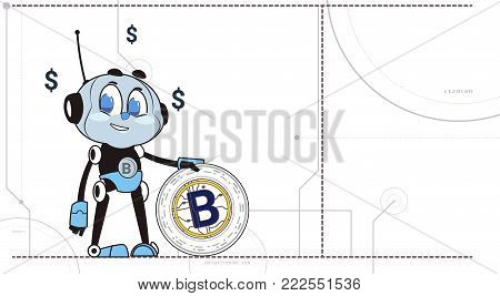Chatbot Hold Bitcoin Robots and Crypto Currency Mining Technology Cryptobot Concept Flat Vector Illustration