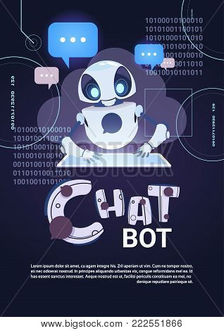 Chatbot Robot Technology, Chatterbot Using Digital Tablet Virtual Assistance And Web Support Concept Template Banner With Copy Space Flat Vector Illustration