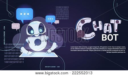 Chatbot Technology, Robotic Chatter Using Digital Tablet Virtual Assistance And Web Support Concept Template Banner With Copy Space Flat Vector Illustration