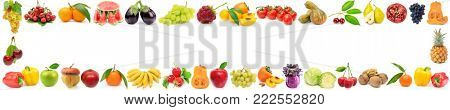 Wide frame ripe vegetables, fruits and berries isolated on white background.