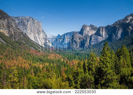 Classic Tunnel View of scenic Yosemite Valley with famous El Capitan and Half Dome rock climbing summits on a beautiful sunny day with blue sky and clouds in summer, Yosemite National Park, California, USA