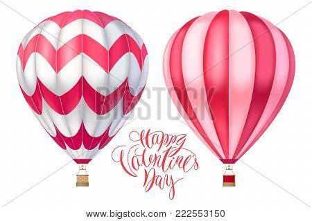 Vector 3d hot air pink red ballons with stripes. Cartoon illustration with lettering for happy Valentine day. Realistic model isolated on white