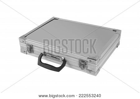 Construction, repair, tools - Grey box case for tools isolated on white background.
