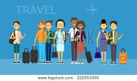 Group Of Tourists With Bags Travel On Air Mix race Travelers Men And Women Over Blue Background With Airplane Flat Vector Illustration