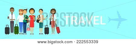 Group Of Tourists With Bags Travel On Air Mix race Travelers Men And Women Over Blue Background With Airplane Horizontal Banner Flat Vector Illustration