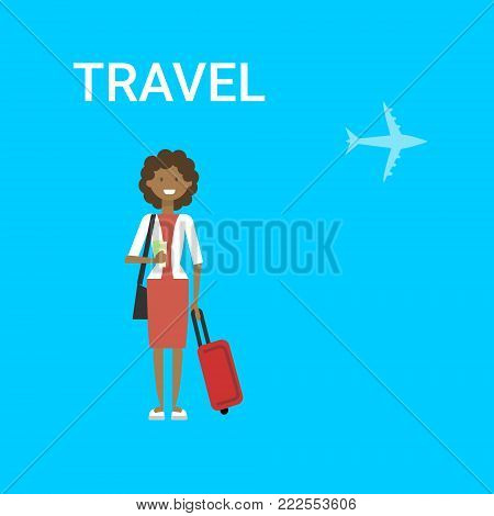 Woman Traveller With Bag Young African American Female Travel On Air Blue Background With Airplane Flat Vector Illustration