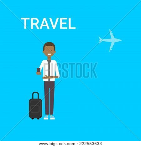 Man Traveller With Bag Holding Smart Phone Gadget Young African American Guy Travel On Air Blue Background With Airplane Flat Vector Illustration