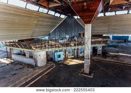 Abandoned ruined by war international airport terminal in Sukhum, Abkhazia, Georgia
