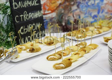 Catering delicacies and snacks at a buffet or banquet