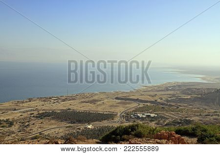 view of the coast of the Dead Sea from the mountain top, Ein Gedi, Israel