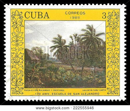 Cuba - circa 1988: Stamp printed by Cuba, Color edition on Art, Shows Painting Landscape by Valentin Sanz Carta, circa 1988