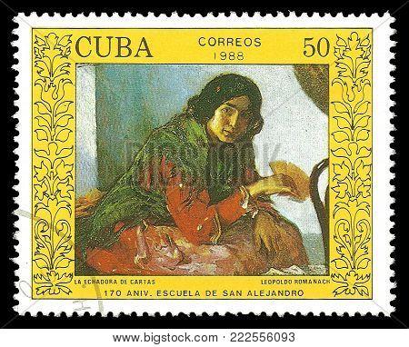 Cuba - circa 1988: Stamp printed by Cuba, Color edition on Art, Shows Painting La Echadora de Cartas by Leopoldo Romanach, circa 1988