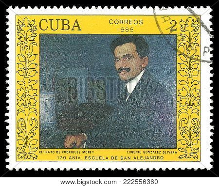 Cuba - circa 1988: Stamp printed by Cuba, Color edition on Art, Shows Painting Rodriguez Morey by Eugenio Gonzalez Olivera, circa 1988