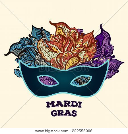 Mardi gras brochure. Carnival fat tuesday mask. Greeting card with on traditional colors