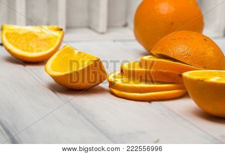 Orange Fruit. Orange Slices Half Orange Whole Orange Orange Background