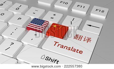White Keyboard With A American And Chinese Flag Key And The Word Translate And The Chinese Character