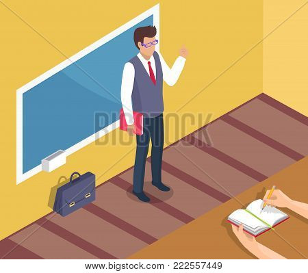 Teacher standing near blackboard on grammar lesson side view 3D vector illustration. Leather briefcase stands on floor, pupils hands with open textbook