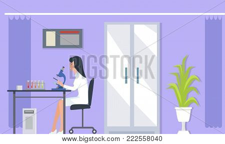 Laboratory assistant with microscope doing researches in laboratory with medical bulbs, plant and big door on vector illustration isolated on purple