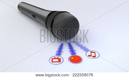 Black Microphone Emitting Blue Soundwaves Leading To A Tv Note And Chinese Flag Symbol Voice Over Co
