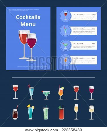 Cocktails menu bar layout with alcoholic beverages in shine wineglasses. Vector illustration with design of front page and content of menu