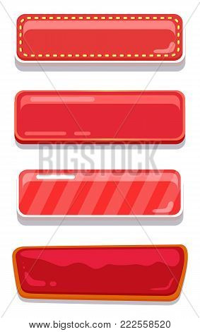 Blank glossy web buttons with place for text set of online push-buttons isolated on white, editable navigation icons vector illustration collection