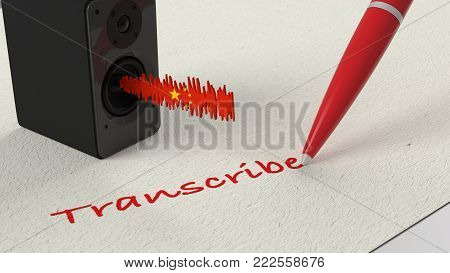 Loudspeaker Standing On Paper With A Chinese Textured Soundwave And A Blue Pen Writing The Word Tran