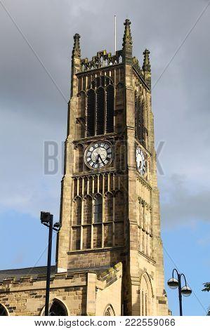 Huddersfield, UK - town in Kirklees region of West Yorkshire. Parish Church of St. Peter, Kirkgate.