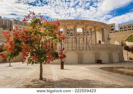 RAWABI, WEST BANK, PALESTINE. November 11, 2017. The Rawabi Cultural Center with a 725-seat theater and a backstage area.
