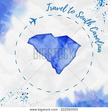 South Carolina Watercolor Us State Map In Blue Colors. Travel To South Carolina Poster With Airplane