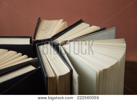 Stack Of Colorful Books. Back To School. Book, Hardback Colorful Books On Wooden Table. Education Bu