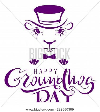 Happy Groundhog Day. Marmot silhouette lettering text for greeting card. Isolated on white vector illustration