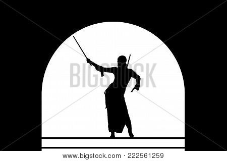 Graceful belly dance with swords. Black silhouette of an Oriental dancer on stage with arched vault. Dancing black woman warrior on a white background.