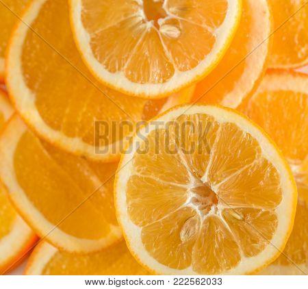 Orange fruit. Orange slices half whole orange orange background