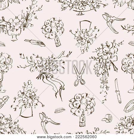Vintage botanical detailed illustration flowers set. Engraving style. Hand drawing illustration. Flowers in a vase, flower arrangement, a bride bouquet, a wedding theme for an invitation or flower shop