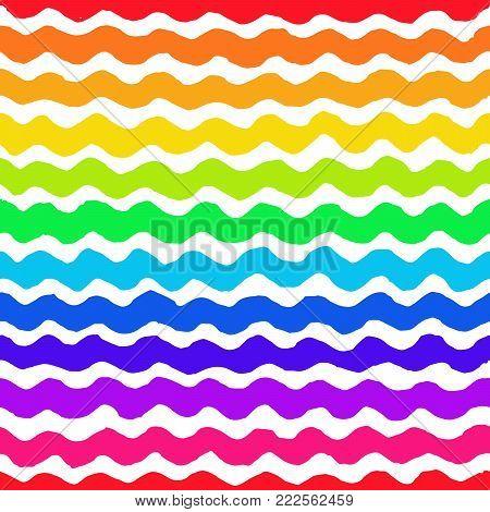 Irregular rainbow wave pattern. Seamless hand drawn background. Vector graphic print.