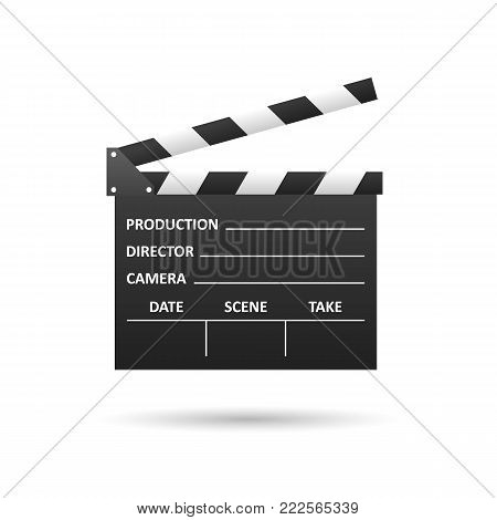 Realistic Cinema clapper, isolated on white. Movie making. Film industry. Cinematography concept. Vector illustration