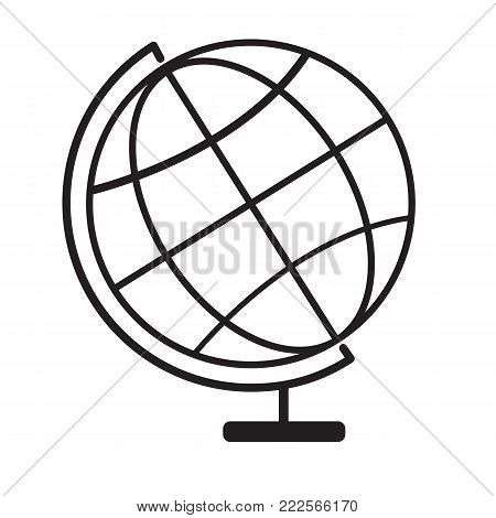 terrestrial globe icon on white background. terrestrial globe symbol. globe sign. flat style.