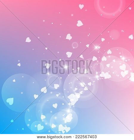 Falling Hearts Valentine Background. Bottom Gradient On Color Transition Background. Falling Hearts
